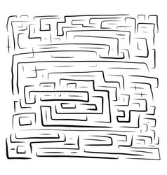 hand drawn black labyrinth on vector image