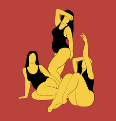 hand drawn fat women in swimsuit vector image