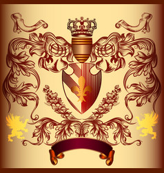 heraldic design with coat of arms and crown vector image