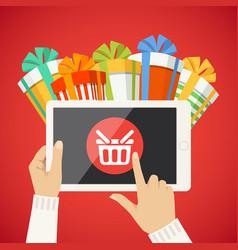 human hand smart tablet shop basket goods icon vector image
