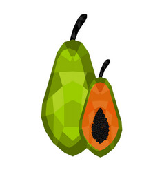 isolated geometric papaya cut low poly vector image