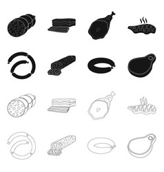 Isolated object of meat and ham icon set of meat vector
