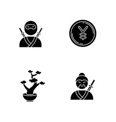japan black glyph icons set on white space ninja vector image