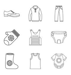 Kid clothes icon set outline style vector