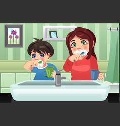kids brushing their teeth vector image