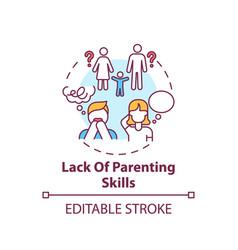 Lack parenting skills concept icon vector