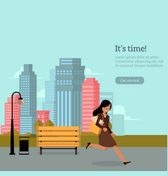 Late businesswoman hurrying looking watches vector
