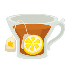 lemon drink black tea pack in cup isolated hot vector image