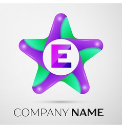 Letter E logo symbol in the colorful star on grey vector