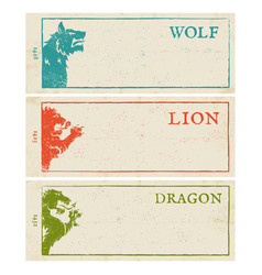 lion wolf and dragon vector image