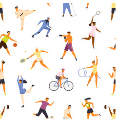 Man and woman performing various kinds sports vector