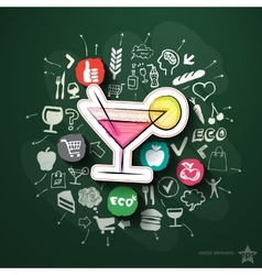 Meals and drinks collage with icons on blackboard vector