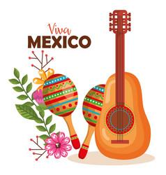 Mexican culture guitar and maracas vector