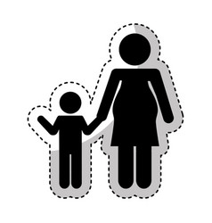 mother with son silhouette isolated icon vector image
