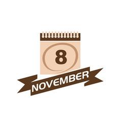November calendar with ribbon vector