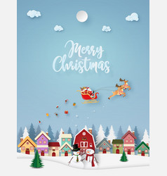 Origami paper art santa claus coming to town vector