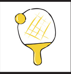 Ping pong racket and ball doodle icon vector