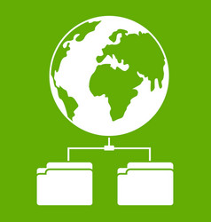 planet and two folders icon green vector image