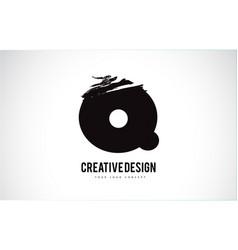 Q letter logo design brush paint stroke artistic vector