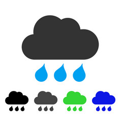 Rain weather flat icon vector