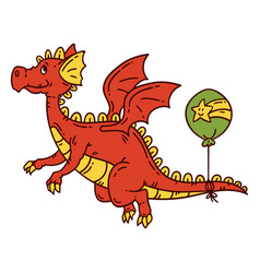 red flying dragon vector image