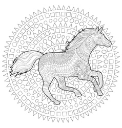 Running horse in zentangle style vector