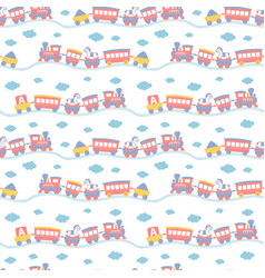 Seamless pattern with cute toy trains vector