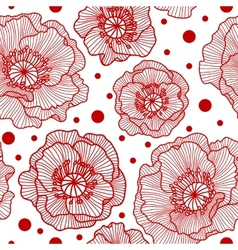 Seamless pattern with red lace poppies vector