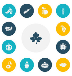 Set 13 editable food icons includes symbols vector