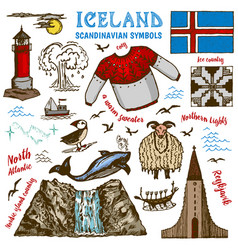 Set iceland symbols in vintage style vector