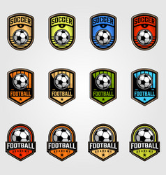 set soccer ball emblem football logo vector image