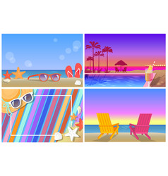 Summer compositions and landscapes banners set vector