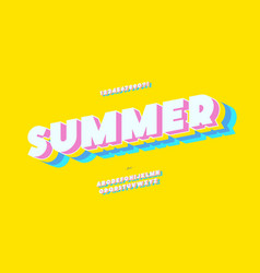 summer font 3d bold color style vector image