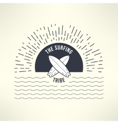 surfing background with sun and waves T vector image