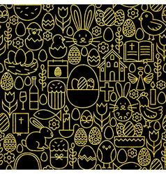 Thin Line Gold Black Happy Easter Seamless Pattern vector