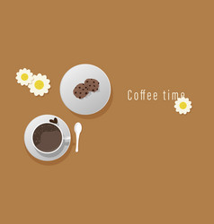 Top view of a cup of coffee and cookies vector