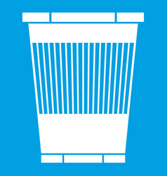 Trash can icon white vector