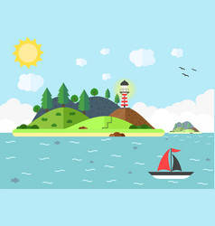 travel scene in the sea with lighthouse hill tree vector image