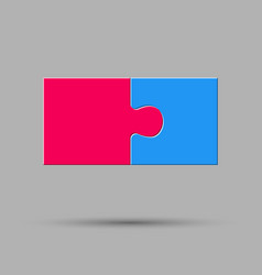 Two piece puzzle 2 step jigsaw logo vector