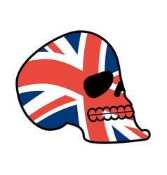 uk skull head of skeleton and british flag fan vector image