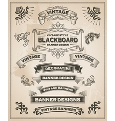 vintage banner and ribbon set vector image