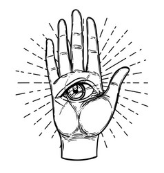 Vintage hands with all seeing eye hand drawn vector
