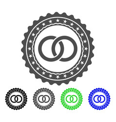 wedding rings stamp flat icon vector image
