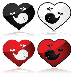Whale love vector image