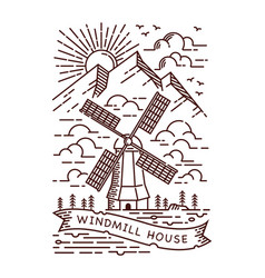 windmill line vector image