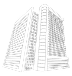 Wireframe shopping mall building vector image