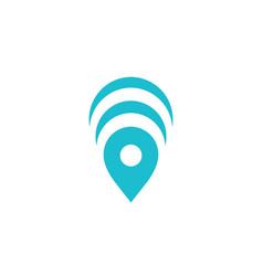 Wireless geotag or location pin logo icon design vector