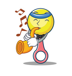 With trumpet rattle toy mascot cartoon vector