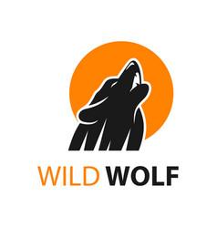 wolf logo design and moon circle vector image