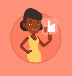 woman pressing like button vector image